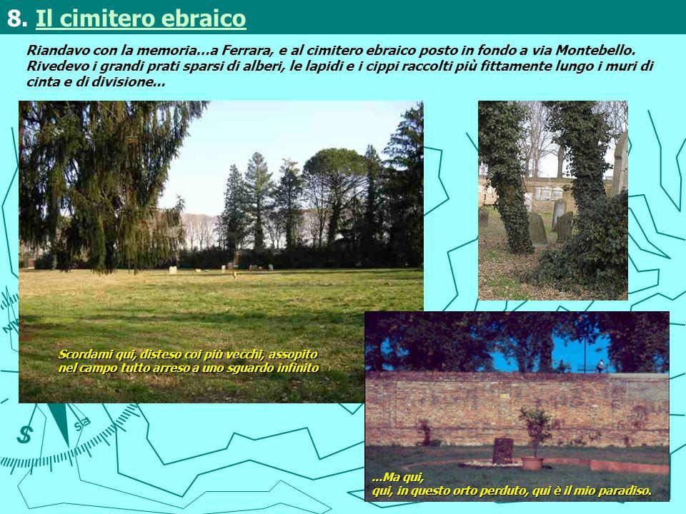 Riandavo con la memoria…a Ferrara, e al cimitero ebraico posto in fondo a via Montebello. Rivedevo i grandi prati sparsi di alberi, le lapidi e i cipp