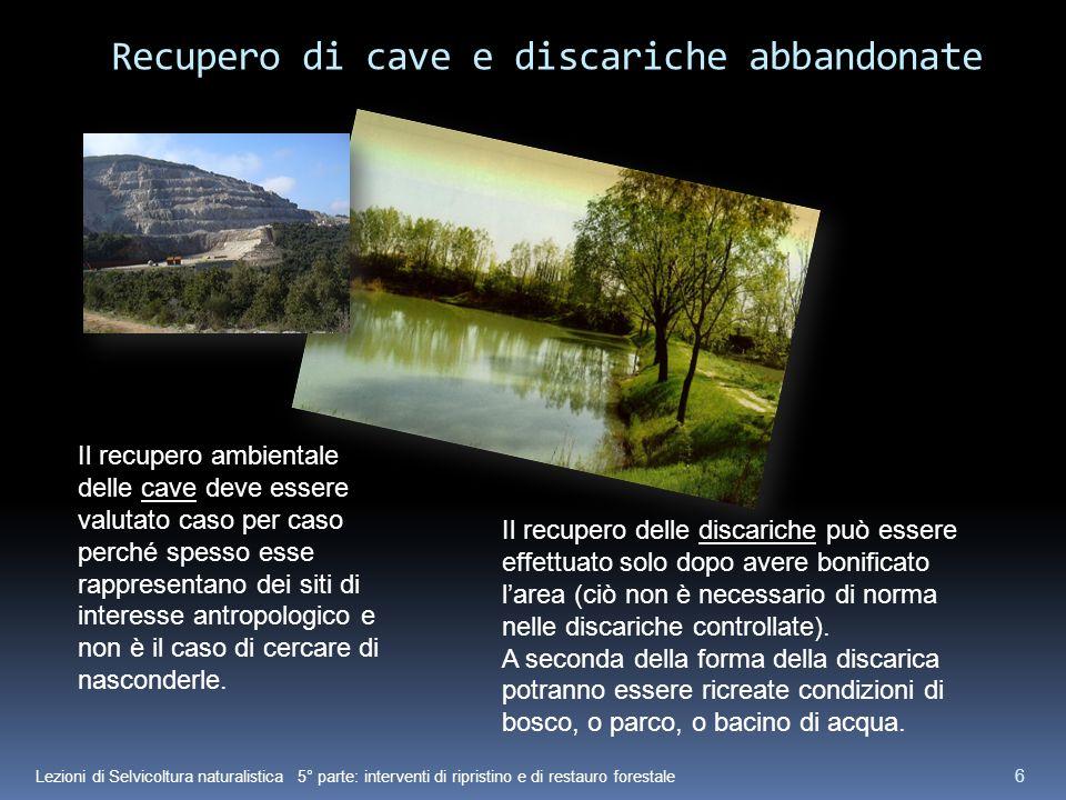 Lezioni di Selvicoltura naturalistica 5° parte: interventi di ripristino e di restauro forestale 6 Recupero di cave e discariche abbandonate Il recupe
