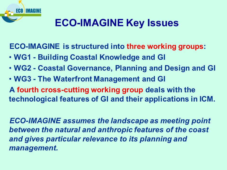 ECO-IMAGINE is structured into three working groups: WG1 - Building Coastal Knowledge and GI WG2 - Coastal Governance, Planning and Design and GI WG3