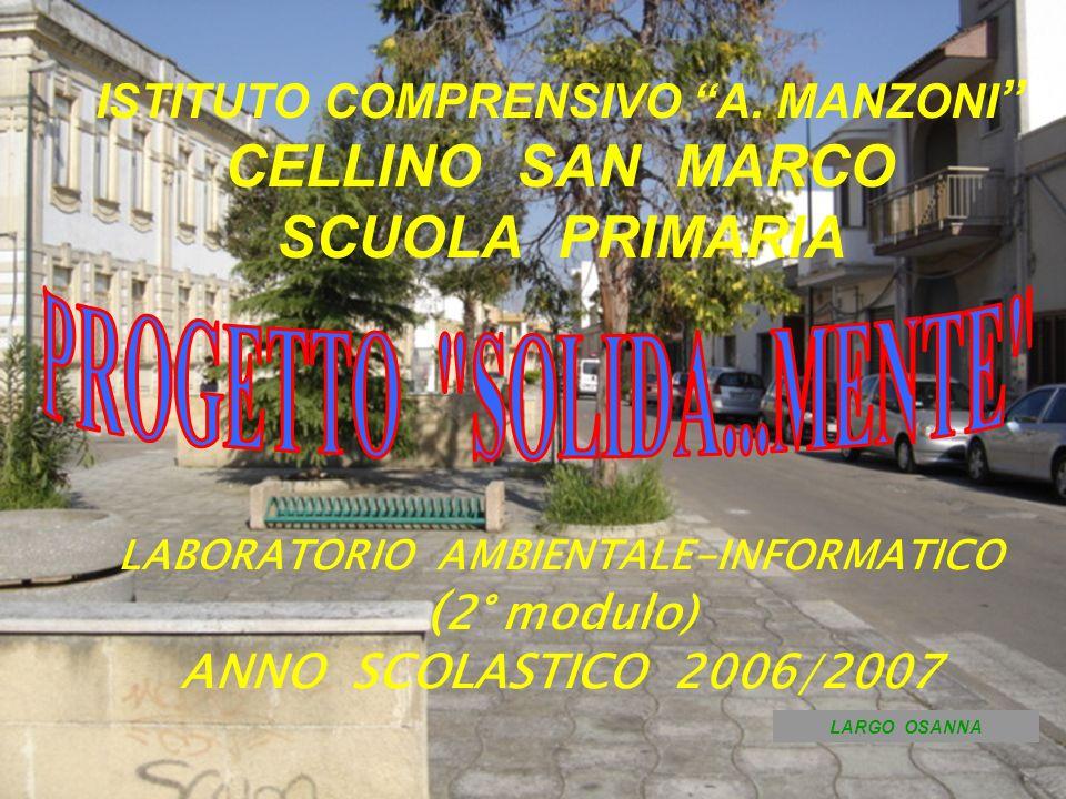 ISTITUTO COMPRENSIVO A. MANZONI CELLINO SAN MARCO SCUOLA PRIMARIA LABORATORIO AMBIENTALE-INFORMATICO ( 2° modulo) ANNO SCOLASTICO 2006/2007 LARGO OSAN