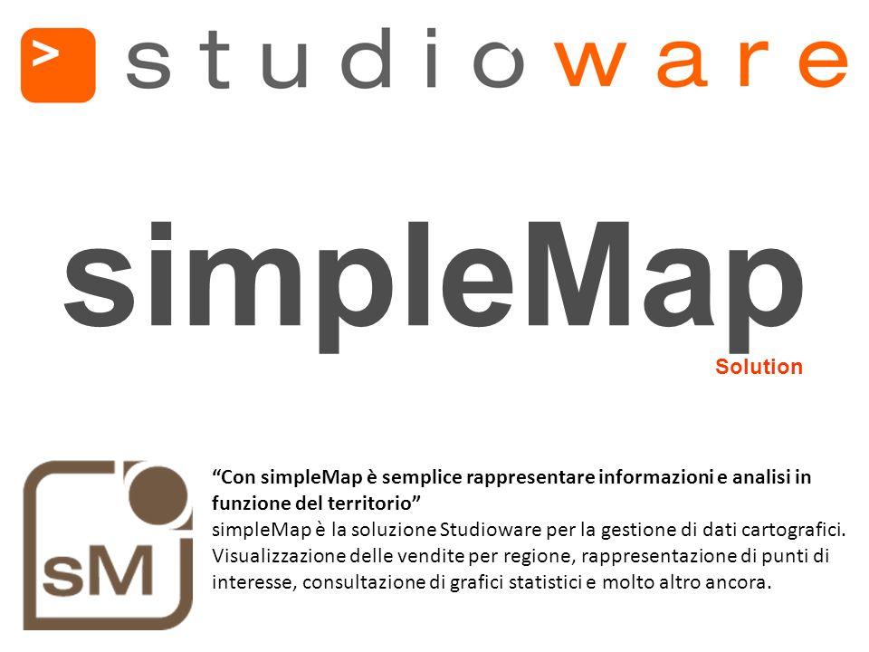 Con simpleMap è semplice rappresentare informazioni e analisi in funzione del territorio simpleMap è la soluzione Studioware per la gestione di dati cartografici.
