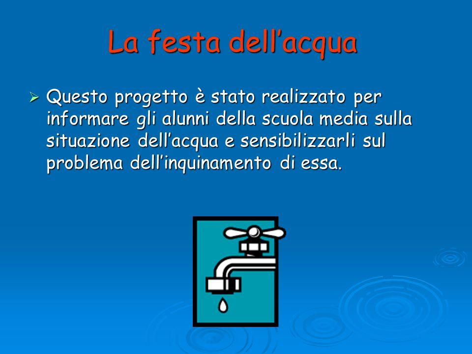 La festa dellacqua Questo progetto è stato realizzato per informare gli alunni della scuola media sulla situazione dellacqua e sensibilizzarli sul pro