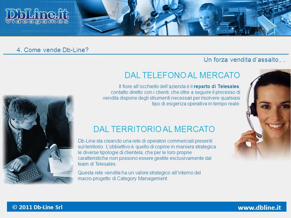 4. Come vende Db-Line? Un forza vendita dassalto Il fiore allocchiello dellazienda è il reparto di Telesales, contatto diretto con i clienti, che oltr