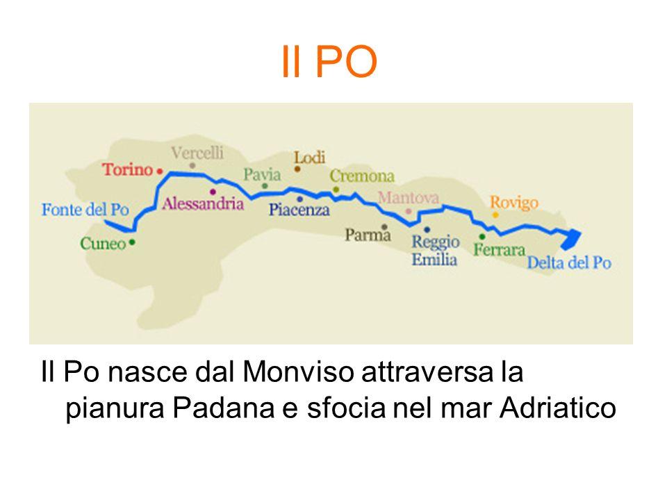 Il PO Il Po nasce dal Monviso attraversa la pianura Padana e sfocia nel mar Adriatico