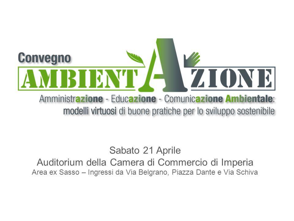 Sabato 21 Aprile Auditorium della Camera di Commercio di Imperia Area ex Sasso – Ingressi da Via Belgrano, Piazza Dante e Via Schiva