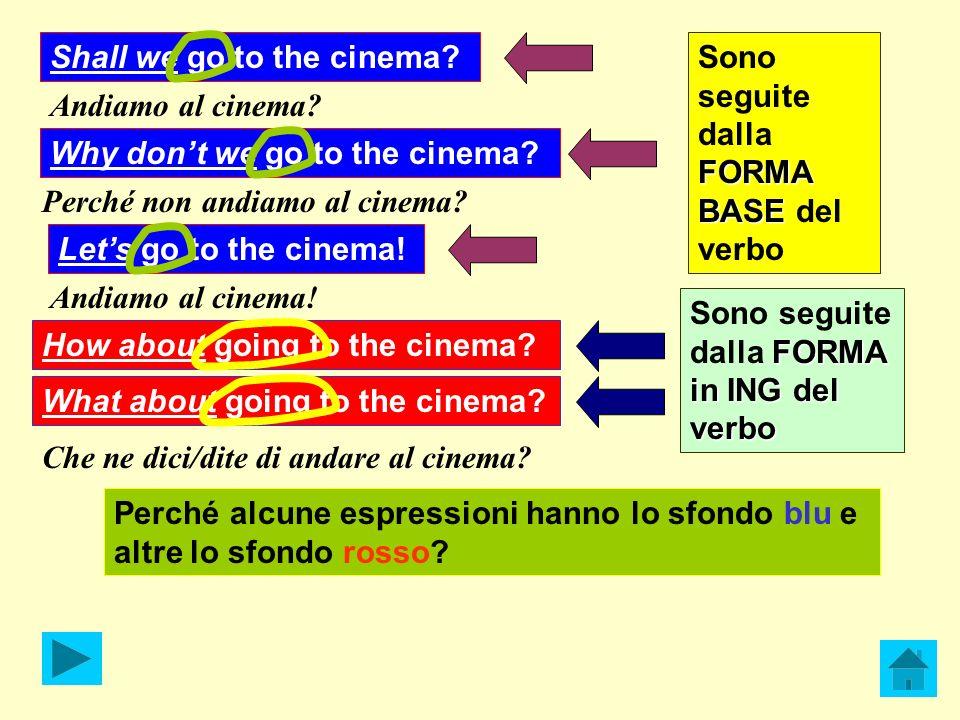 Andiamo al cinema? Shall we go to the cinema? Why dont we go to the cinema? Perché non andiamo al cinema? Lets go to the cinema! Andiamo al cinema! Ho