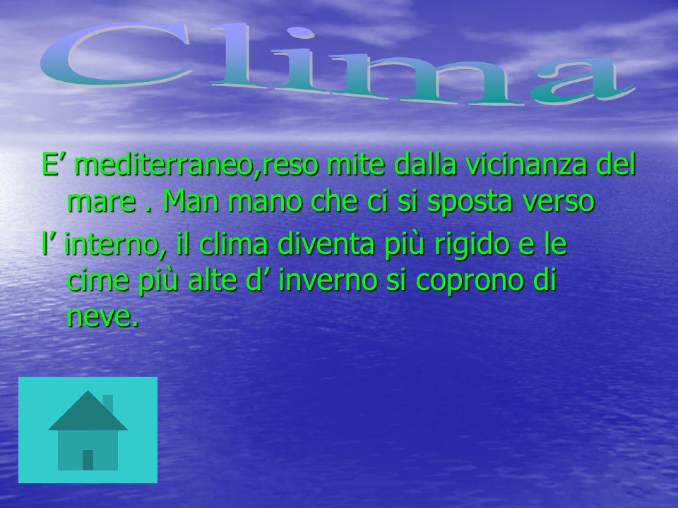 E mediterraneo,reso mite dalla vicinanza del mare. Man mano che ci si sposta verso l interno, il clima diventa più rigido e le cime più alte d inverno