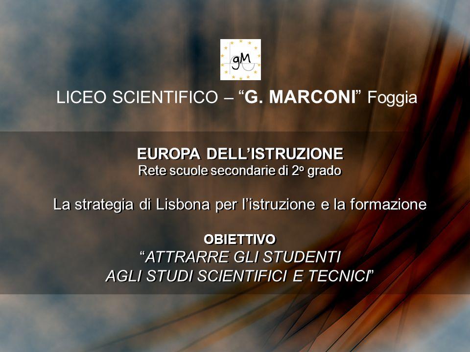 LICEO SCIENTIFICO –G. MARCONI Foggia EUROPA DELLISTRUZIONE Rete scuole secondarie di 2 o grado La strategia di Lisbona per listruzione e la formazione