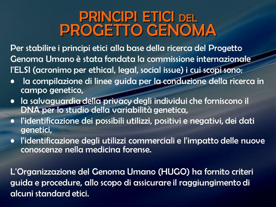 PRINCIPI ETICI DEL PROGETTO GENOMA Per stabilire i principi etici alla base della ricerca del Progetto Genoma Umano è stata fondata la commissione int