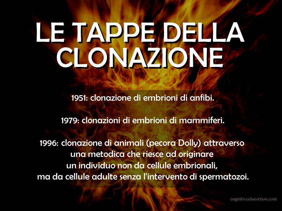 1951: clonazione di embrioni di anfibi. 1979: clonazioni di embrioni di mammiferi. 1996: clonazione di animali (pecora Dolly) attraverso una metodica