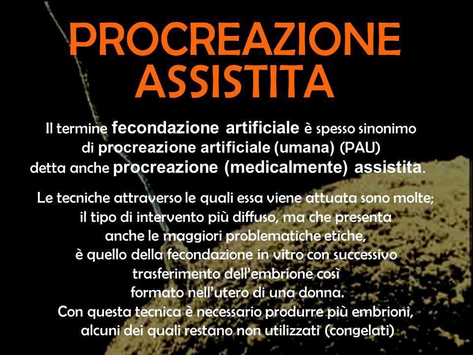 Il termine fecondazione artificiale è spesso sinonimo di procreazione artificiale (umana) (PAU) detta anche procreazione (medicalmente) assistita. Le