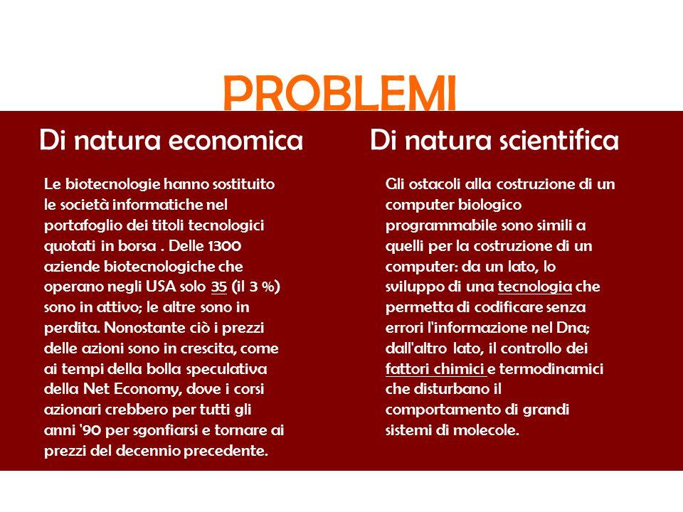 PROBLEMI Di natura economicaDi natura scientifica Le biotecnologie hanno sostituito le società informatiche nel portafoglio dei titoli tecnologici quo