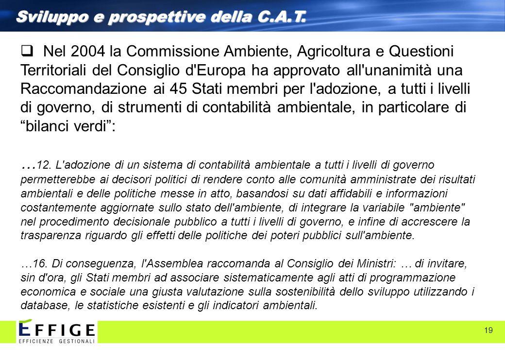 19 Sviluppo e prospettive della C.A.T. Nel 2004 la Commissione Ambiente, Agricoltura e Questioni Territoriali del Consiglio d'Europa ha approvato all'