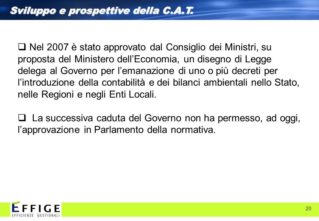 20 Sviluppo e prospettive della C.A.T. Nel 2007 è stato approvato dal Consiglio dei Ministri, su proposta del Ministero dellEconomia, un disegno di Le