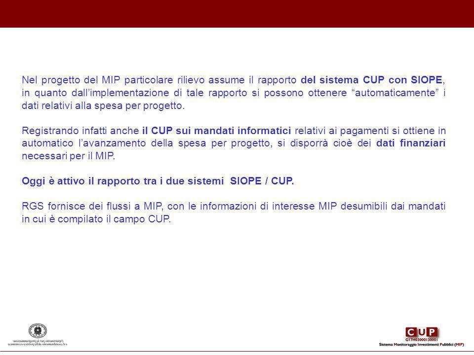 Nel progetto del MIP particolare rilievo assume il rapporto del sistema CUP con SIOPE, in quanto dallimplementazione di tale rapporto si possono otten
