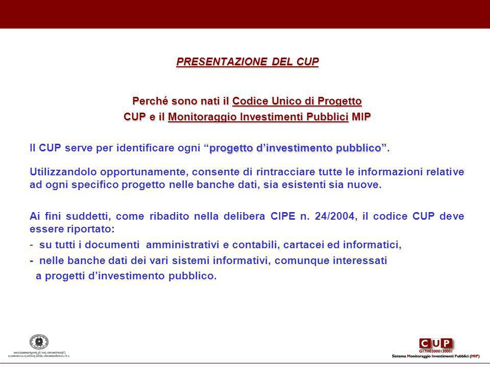 PRESENTAZIONE DEL CUP Perché sono nati il Codice Unico di Progetto CUP e il Monitoraggio Investimenti Pubblici MIP progetto dinvestimento pubblico Il