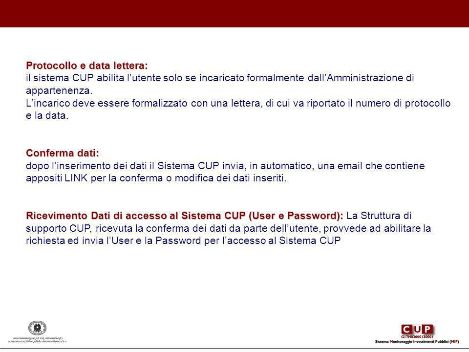 Protocollo e data lettera: il sistema CUP abilita lutente solo se incaricato formalmente dallAmministrazione di appartenenza. Lincarico deve essere fo