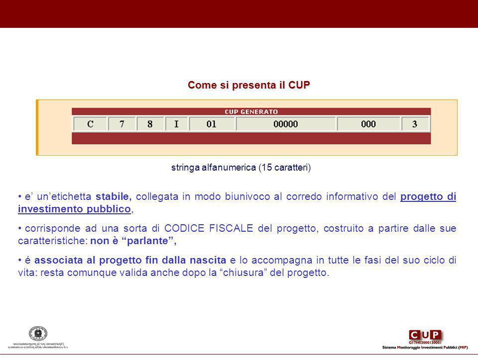 Come si presenta il CUP stringa alfanumerica (15 caratteri) e unetichetta stabile, collegata in modo biunivoco al corredo informativo del progetto di