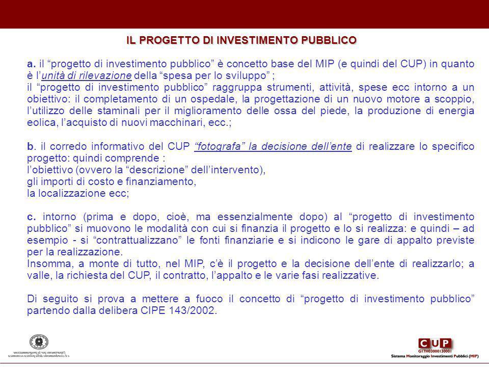 IL PROGETTO DI INVESTIMENTO PUBBLICO a. il progetto di investimento pubblico è concetto base del MIP (e quindi del CUP) in quanto è lunità di rilevazi