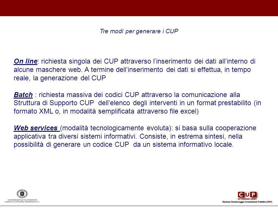 Tre modi per generare i CUP On line: richiesta singola dei CUP attraverso linserimento dei dati allinterno di alcune maschere web. A termine dellinser