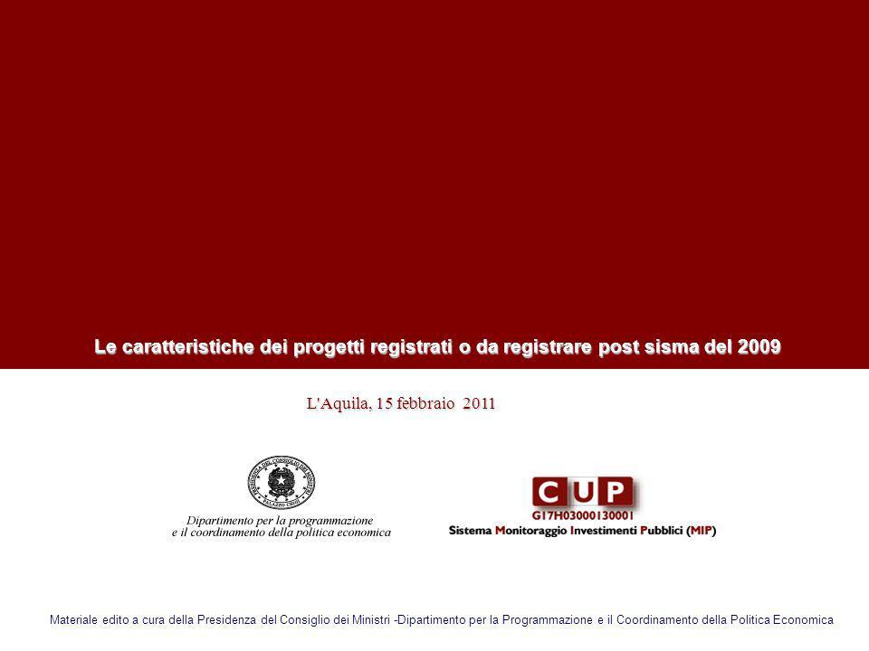L'Aquila, 15 febbraio 2011 L'Aquila, 15 febbraio 2011 Le caratteristiche dei progetti registrati o da registrare post sisma del 2009 Le caratteristich