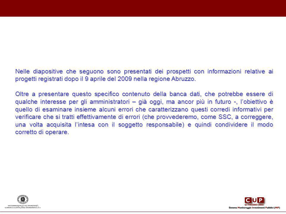 Nelle diapositive che seguono sono presentati dei prospetti con informazioni relative ai progetti registrati dopo il 9 aprile del 2009 nella regione A