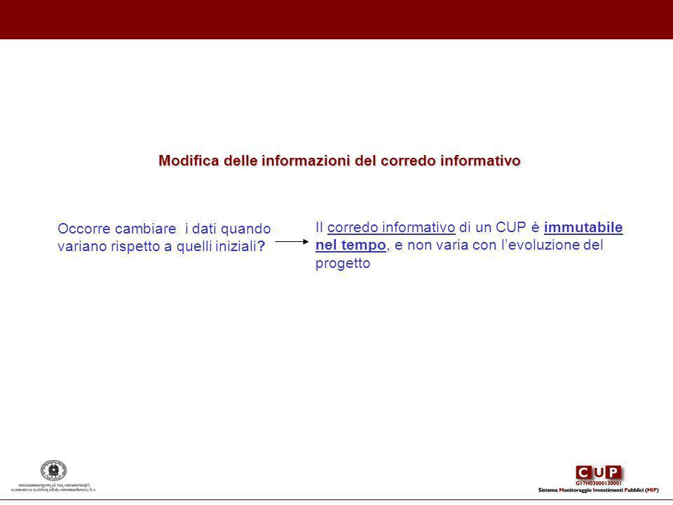 Modifica delle informazioni del corredo informativo Occorre cambiare i dati quando variano rispetto a quelli iniziali? Il corredo informativo di un CU
