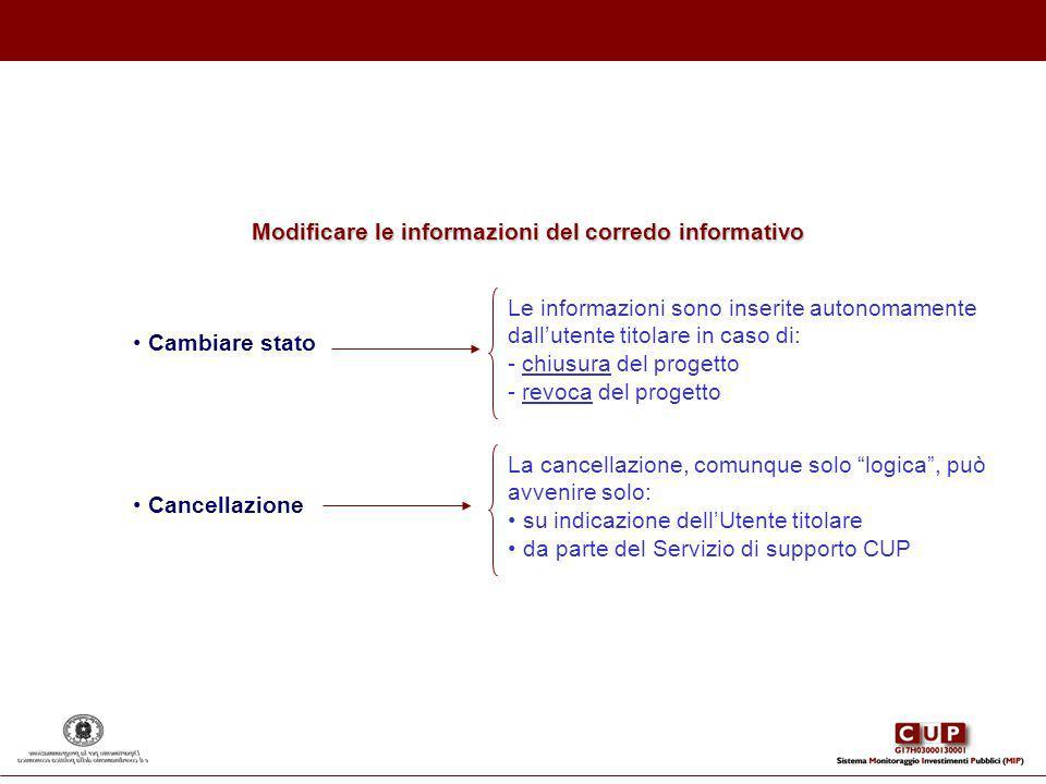 Cambiare stato Le informazioni sono inserite autonomamente dallutente titolare in caso di: - chiusura del progetto - revoca del progetto La cancellazi
