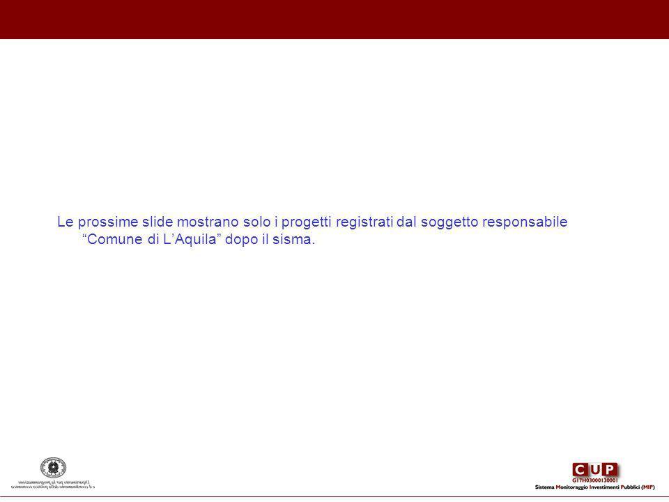 Le prossime slide mostrano solo i progetti registrati dal soggetto responsabile Comune di LAquila dopo il sisma.