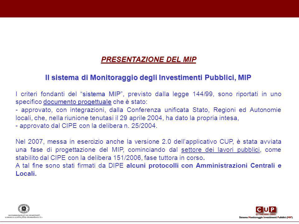 PRESENTAZIONE DEL MIP Il sistema di Monitoraggio degli Investimenti Pubblici, MIP sistema MIP documento progettuale I criteri fondanti del sistema MIP