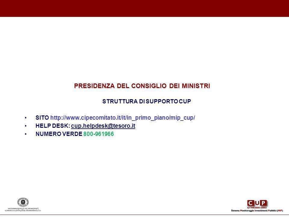 STRUTTURA DI SUPPORTO CUP SITO http://www.cipecomitato.it/it/in_primo_piano/mip_cup/ HELP DESK: cup.helpdesk@tesoro.it NUMERO VERDE 800-961966 PRESIDE