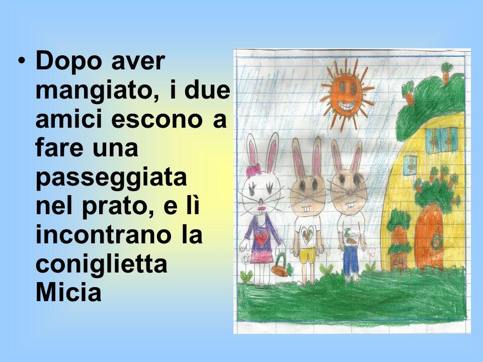 I DUE AMICI Un coniglio di nome Cirillo, invita a pranzo il suo amico Birillo per mangiare una gustosa zuppa di carote.