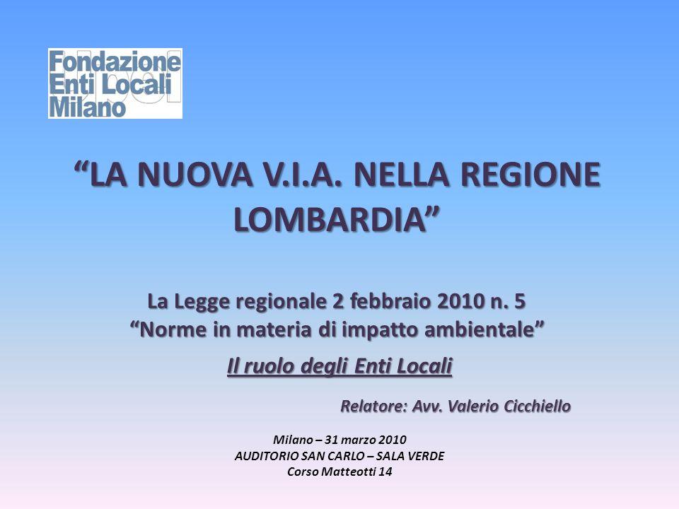 LA NUOVA V.I.A. NELLA REGIONE LOMBARDIA La Legge regionale 2 febbraio 2010 n. 5 Norme in materia di impatto ambientale Il ruolo degli Enti Locali Rela