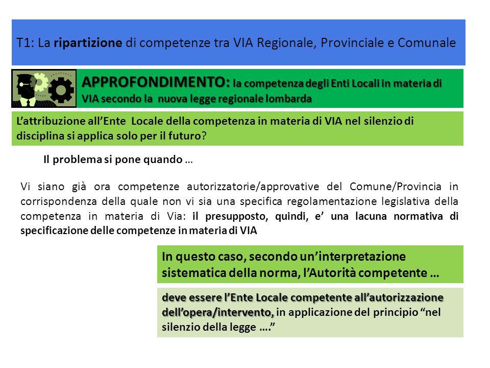 APPROFONDIMENTO: la competenza degli Enti Locali in materia di VIA secondo la nuova legge regionale lombarda In questo caso, secondo uninterpretazione