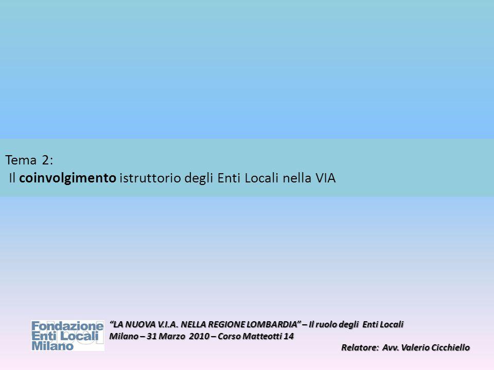 Tema 2: Il coinvolgimento istruttorio degli Enti Locali nella VIA LA NUOVA V.I.A. NELLA REGIONE LOMBARDIA – Il ruolo degli Enti Locali Milano – 31 Mar