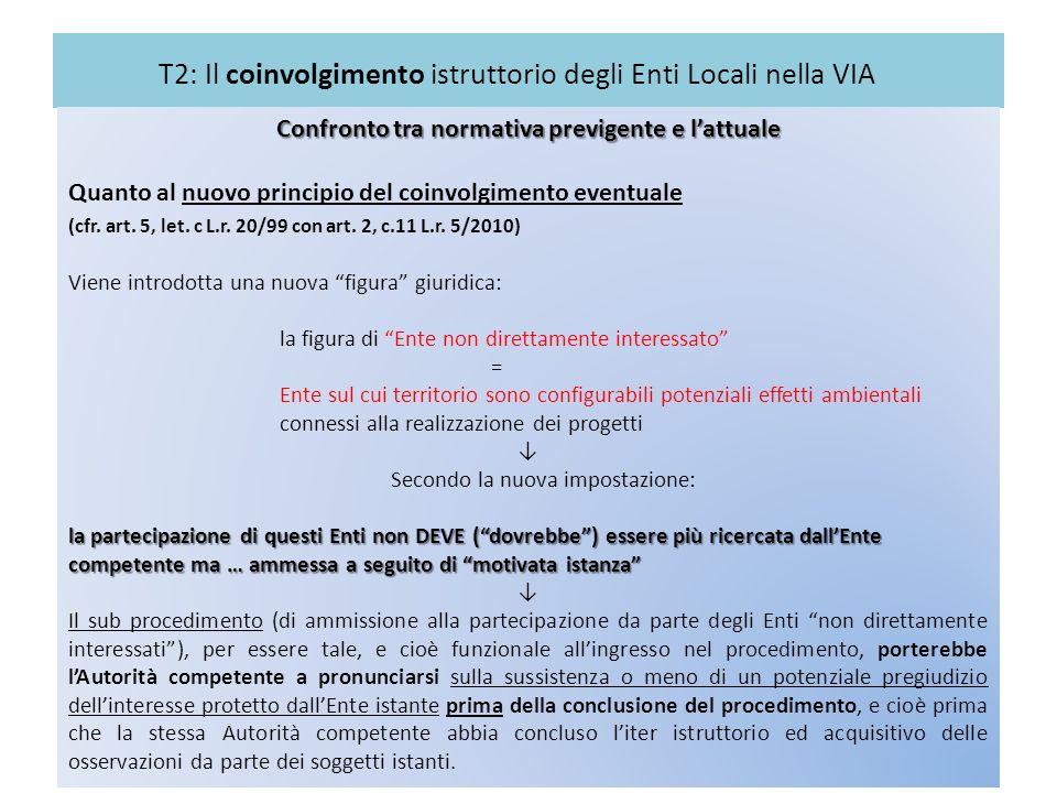 T2: Il coinvolgimento istruttorio degli Enti Locali nella VIA Confronto tra normativa previgente e lattuale Quanto al nuovo principio del coinvolgimen