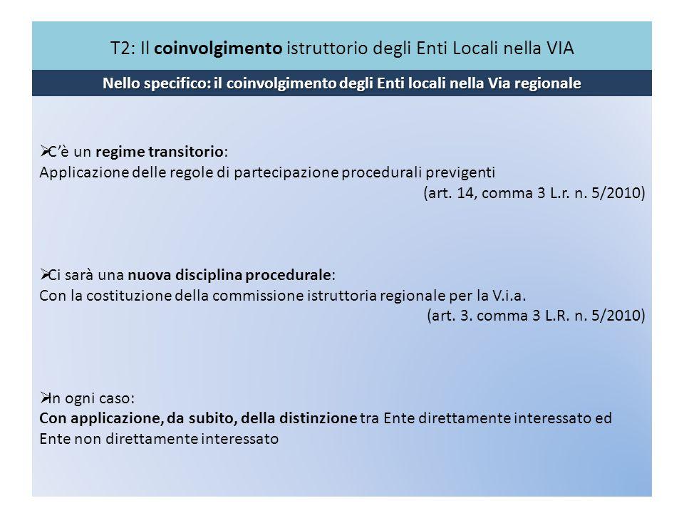 T2: Il coinvolgimento istruttorio degli Enti Locali nella VIA Nello specifico: il coinvolgimento degli Enti locali nella Via regionale Cè un regime tr
