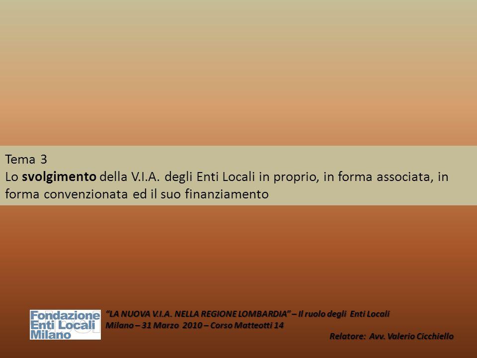 Tema 3 Lo svolgimento della V.I.A. degli Enti Locali in proprio, in forma associata, in forma convenzionata ed il suo finanziamento LA NUOVA V.I.A. NE