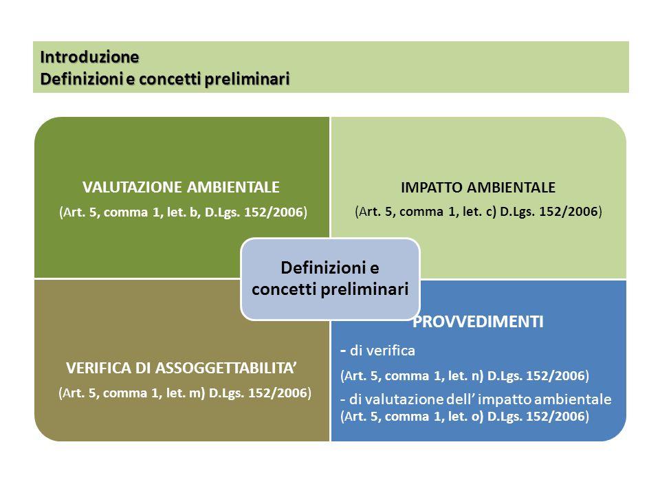Introduzione Definizioni e concetti preliminari VALUTAZIONE AMBIENTALE (Art. 5, comma 1, let. b, D.Lgs. 152/2006) IMPATTO AMBIENTALE (Art. 5, comma 1,
