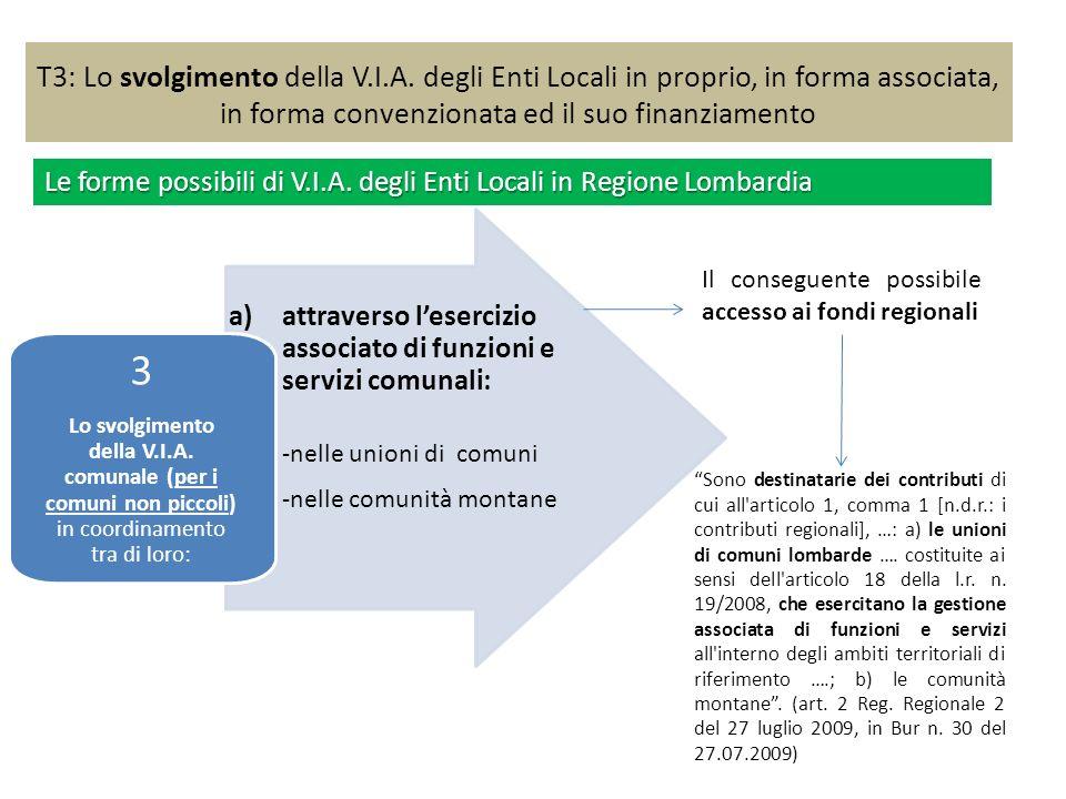 T3: Lo svolgimento della V.I.A. degli Enti Locali in proprio, in forma associata, in forma convenzionata ed il suo finanziamento a)attraverso leserciz