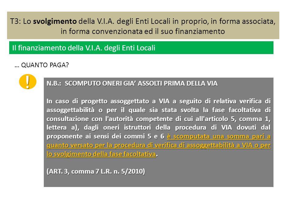 T3: Lo svolgimento della V.I.A. degli Enti Locali in proprio, in forma associata, in forma convenzionata ed il suo finanziamento Il finanziamento dell