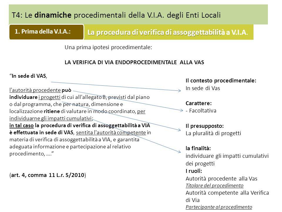 T4: Le dinamiche procedimentali della V.I.A. degli Enti Locali La procedura di verifica di assoggettabilit La procedura di verifica di assoggettabilit