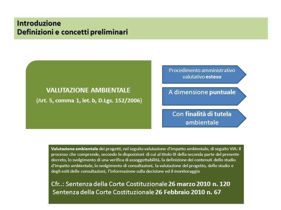 VALUTAZIONE AMBIENTALE (Art. 5, comma 1, let. b, D.Lgs. 152/2006) Introduzione Definizioni e concetti preliminari Valutazione ambientale dei progetti,