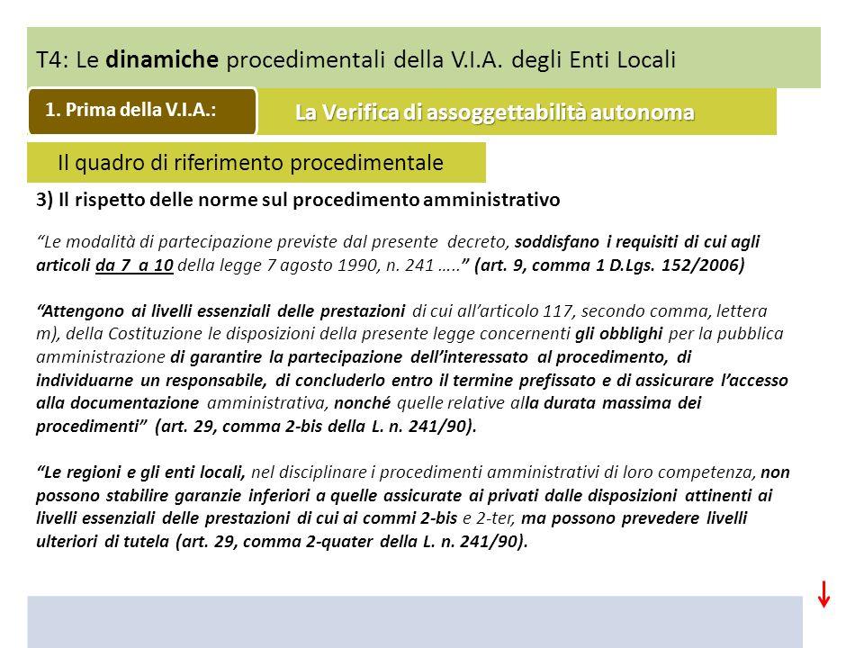 T4: Le dinamiche procedimentali della V.I.A. degli Enti Locali 3) Il rispetto delle norme sul procedimento amministrativo Le modalità di partecipazion