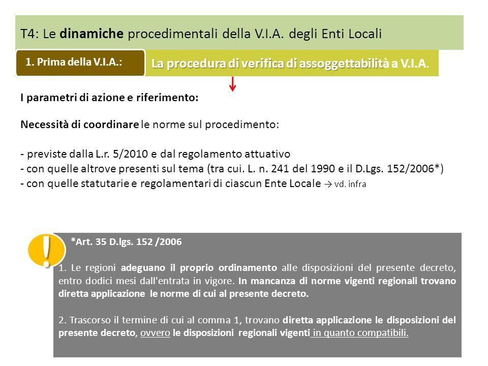 T4: Le dinamiche procedimentali della V.I.A. degli Enti Locali I parametri di azione e riferimento: Necessità di coordinare le norme sul procedimento: