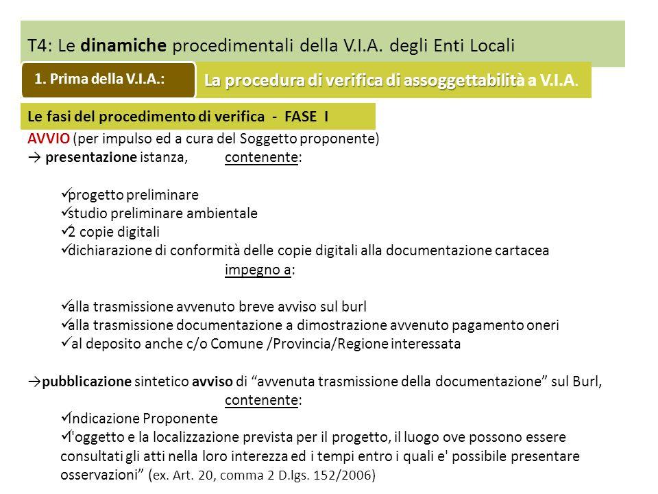 T4: Le dinamiche procedimentali della V.I.A. degli Enti Locali Le fasi del procedimento di verifica - FASE I AVVIO (per impulso ed a cura del Soggetto