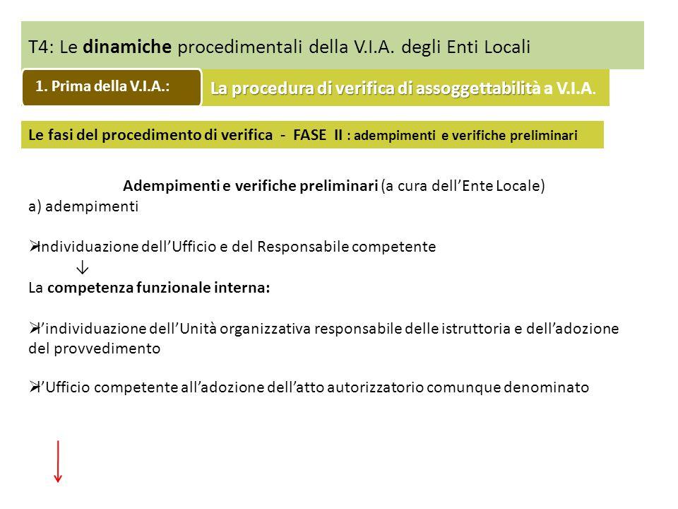T4: Le dinamiche procedimentali della V.I.A. degli Enti Locali Le fasi del procedimento di verifica - FASE II : adempimenti e verifiche preliminari Ad