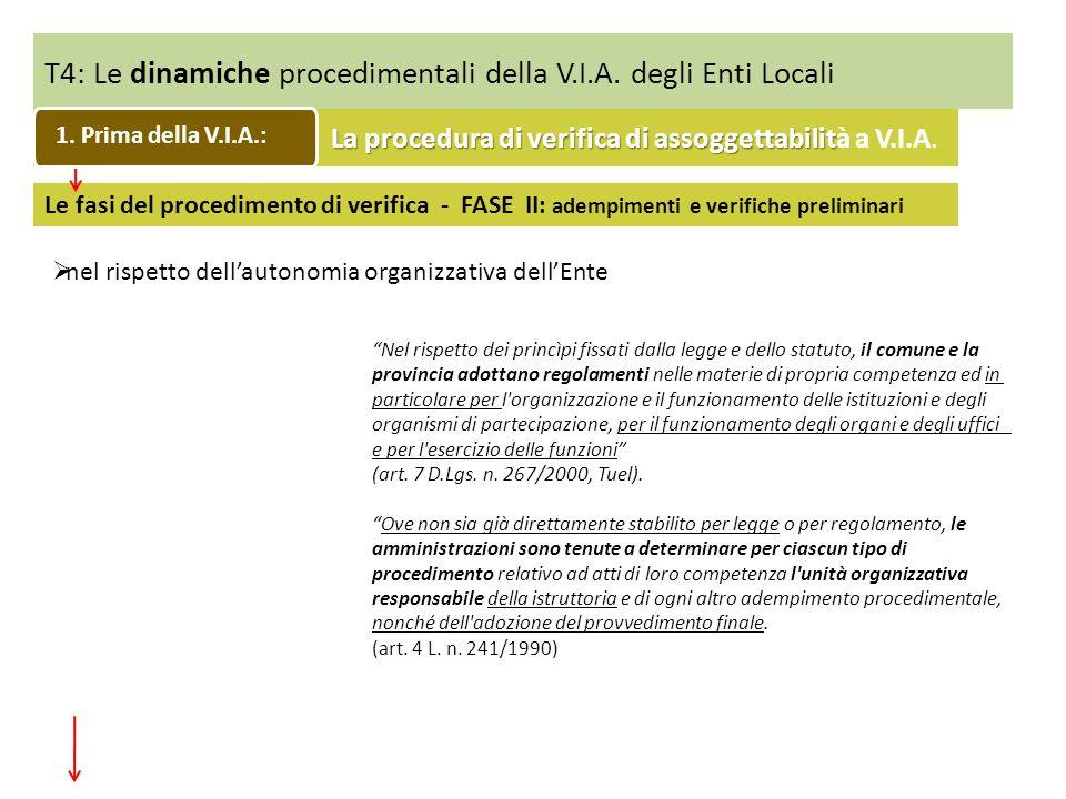T4: Le dinamiche procedimentali della V.I.A. degli Enti Locali Le fasi del procedimento di verifica - FASE II: adempimenti e verifiche preliminari nel