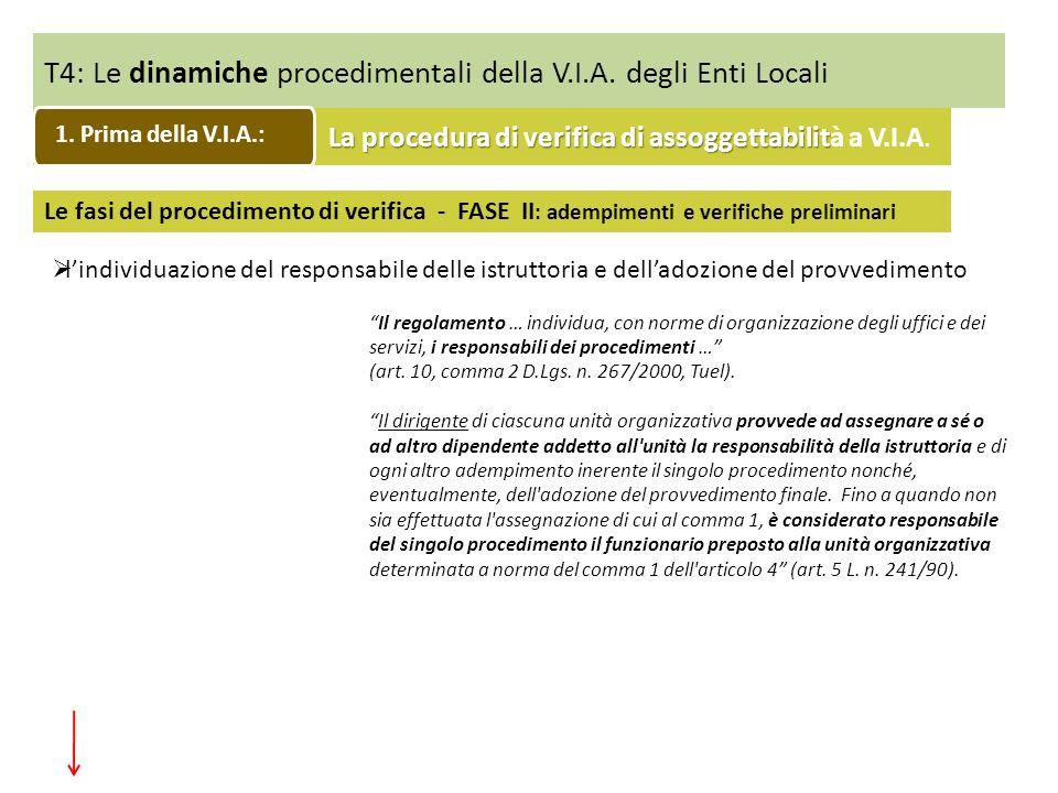 T4: Le dinamiche procedimentali della V.I.A. degli Enti Locali Le fasi del procedimento di verifica - FASE II : adempimenti e verifiche preliminari li