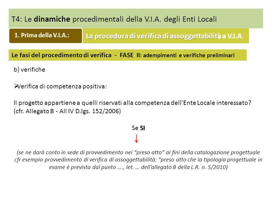 T4: Le dinamiche procedimentali della V.I.A. degli Enti Locali Le fasi del procedimento di verifica - FASE II : adempimenti e verifiche preliminari b)